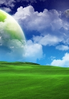 grass, green, sky blue