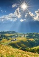 grass, sky, mountains