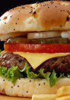 hamburger, fast food, french fries