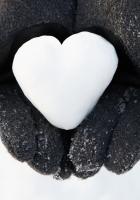 hand, snow, heart