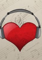 heart, red, headphones