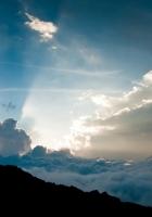 height, clouds, sun