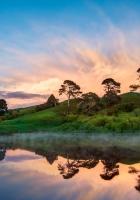 hill, lake, sunset