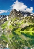 lake, mountains, grass
