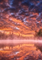 lake, steam, fog