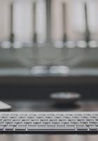 laptop, room, on the desk