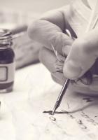 letter, hand, ink