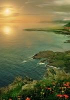 lighthouse, sunset, sea