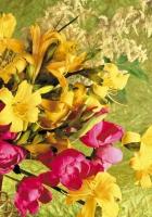 lilies, peonies, yellow