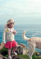 little girl, dog, sea