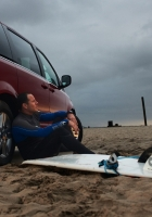 man, car, sand