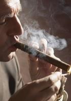 man, cigar, fire