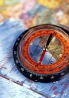 map, compass, blue
