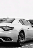 maserati, white, rear view