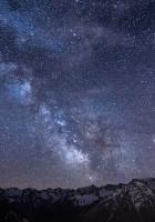 milky way, stars, mountains