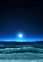 moon, light, sea