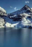 mountain, lake, peaks