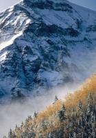 mountain, peak, trees