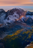 mountain, peaks, sky