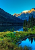 mountain, river, grass