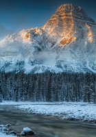 mountain, river, snow