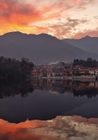 mountains, city, lake
