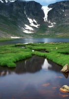 mountains, lake, grass