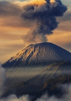 mountains, smoke, volcano