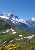 mountains, snow peaks, sky