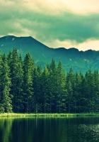 mountains, summer, lake