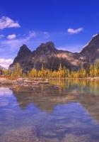mountains, water, lake