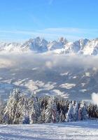 mounting skiing resort, descent, fog