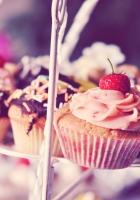 muffins, chocolate, strawberry