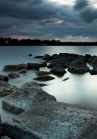 night, lake, stones