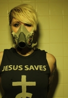 otep, blonde, wall