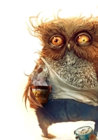 owl, coffee, alarm clock