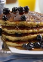 pancakes, bilberry, honey
