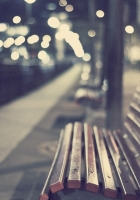park, bench, night