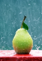 pear, fruit, rain