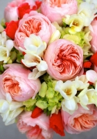 peony, freesia, hydrangea bouquet