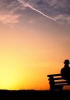 person, silhouette, bench