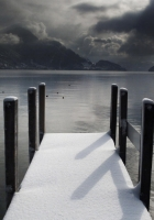 pier, winter, snow