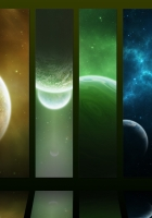 planets, colorful, stripes