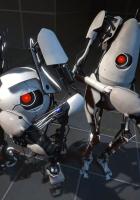 portal 2, robots, gun