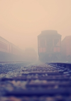 railroad train, rails, fog