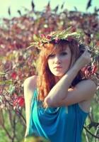 redhead, woman, wreath