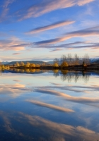 reflection, clouds, autumn
