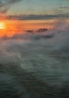 river, fog, sun