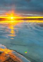 river, ice, decline