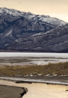 river, mountains, gray